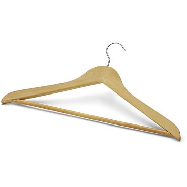 Form-Kleiderbügel, Holz mit Steg