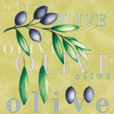 DUNI Zelltuch-Servietten mit Motiv, 33 x 33 cm Olive Twigs