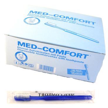 Med-Comfort® Einmalzahnbürsten, blau 1 Box = 100 Stück