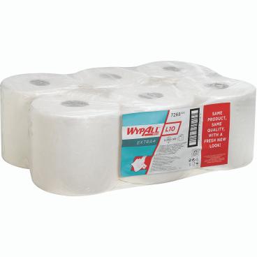 WYPALL* L10 Extra+ Wischtücher für die Zentralentnahme 1 Paket = 6 Rollen á 400 Blatt