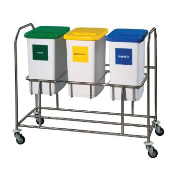 Novocal Edelstahl-Wertstoffsammler Serie 2000 NWE 2032 Dreifachsammler mit 2 Behältern