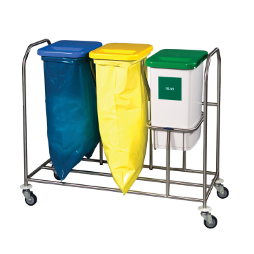 Novocal Edelstahl-Wertstoffsammler Serie 2000 NWE 2031 Dreifachsammler mit 1 Behälter