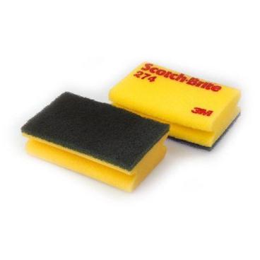 3M Scotch-Brite™ Reinigungsschwamm, gelb/grün, 174/274 274 = 1 Paket = 10 Stück, Format: 95 x 150 mm