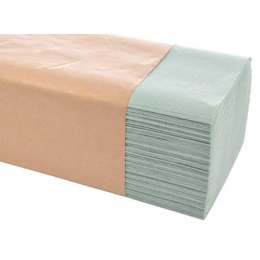 Papierhandtücher 25 x 23 cm, 1-lagig 1 Karton = 5.000 Blatt, grün, geprägt, krepp