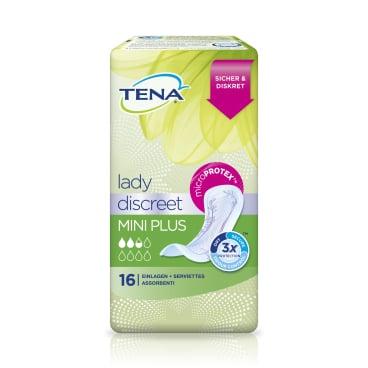 TENA Lady Discreet Mini Plus Slipeinlagen 1 Karton = 8 x 16 Stück = 128 Stück, Länge: 23 cm