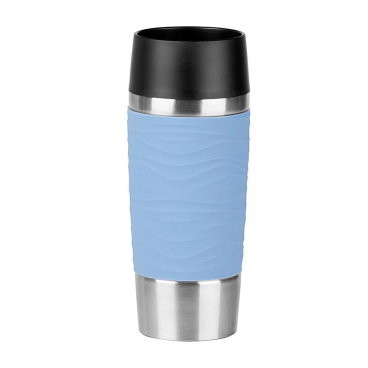EMSA Travel Mug Waves Isolierbecher mit Quick-Press Verschluss Fassungsvermögen: 360 ml, Farbe: Puder-Blau