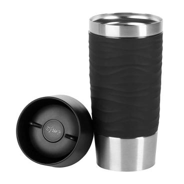 EMSA Travel Mug Waves Isolierbecher mit Quick-Press Verschluss Fassungsvermögen: 360 ml, Farbe: Schwarz
