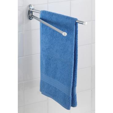 WENKO Basic Handtuchhalter 2 bewegliche Arme, Farbe: silber (Edelstahl)