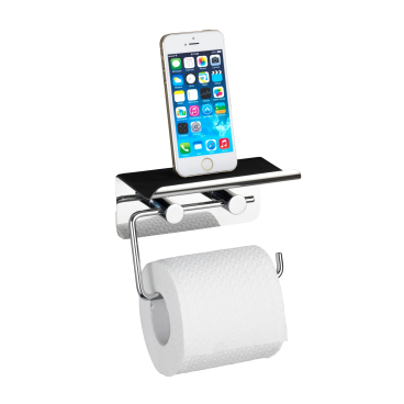 WENKO Toilettenpapierhalter mit Smartphone-Ablage, Edelstahl
