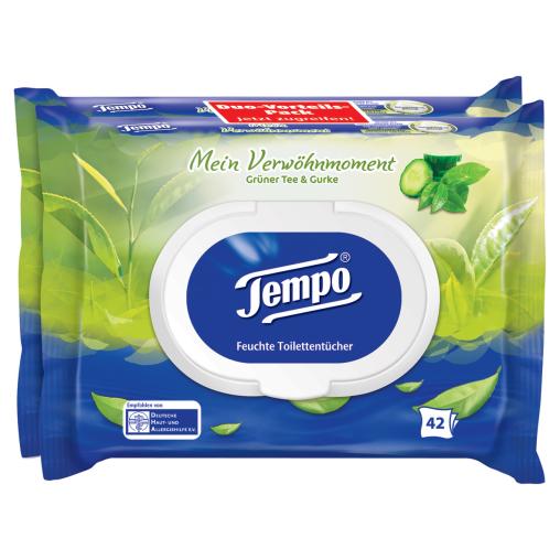 Tempo Grüner Tee & Gurke Feuchte Toilettentücher