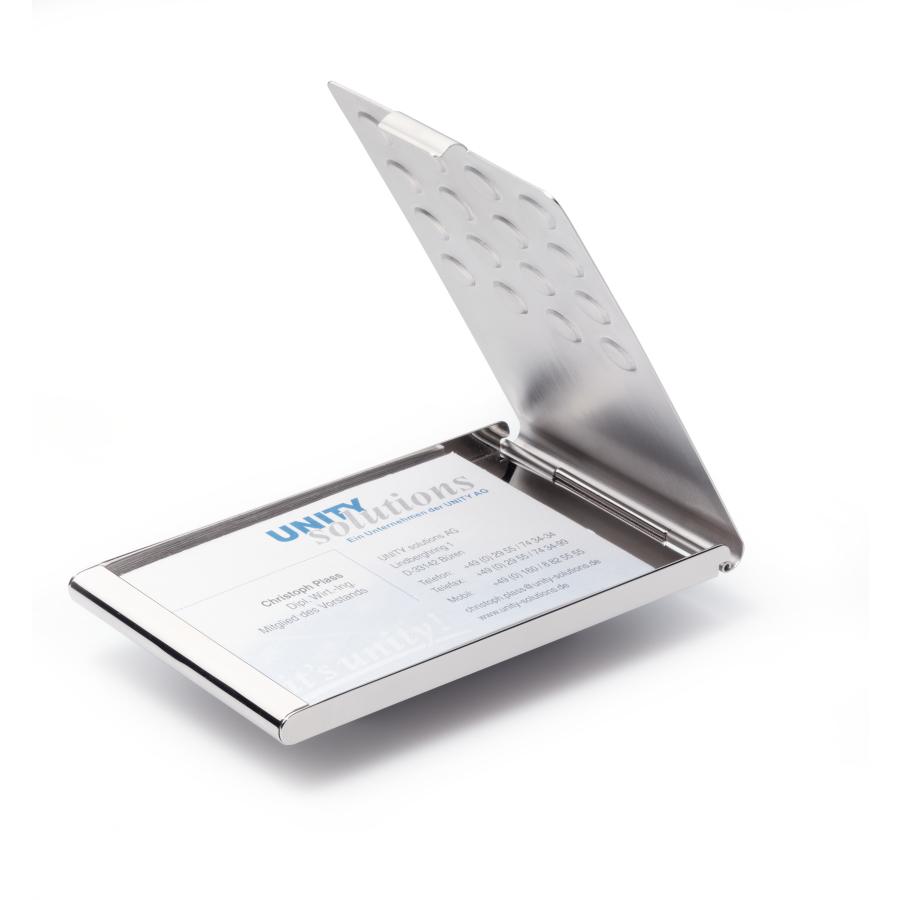 PRO Silber Visitenkarten Etui Business Card Box Visitenkartenhalter