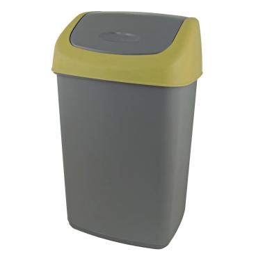 Gies ecoline Push Abfallbehälter mit Schwingdeckel, grau/senf