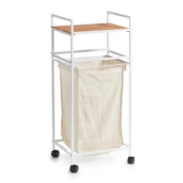 Zeller Bamboo Wäscherollwagen mit Ablage, 39 x 32,5 x 89,5 cm