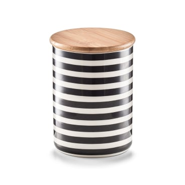Zeller Stripes Vorratsdose mit Bambusdeckel, Keramik