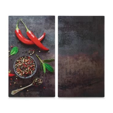 Zeller Chili Herdabdeck-/Schneideplatten-Set, 2-teilig