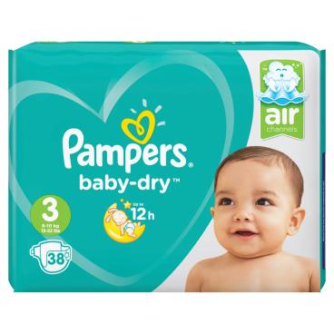Pampers Baby Dry Midi Windeln 6-10 kg, Größe 3 1 Sparpack = 38 Windeln