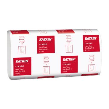 KATRIN Papierhandtücher Classic One Stop M 2, 25,5 x 20,0 cm 1 Karton = 21 Packungen x 160 = 3360 Blatt