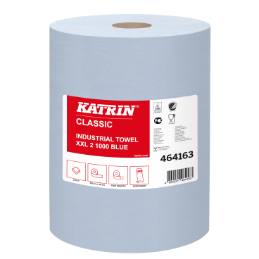 KATRIN Putzpapier-Rolle, 38x38 cm, 2-lagig, blau ½ Palette = 15 Pakete = 30 Rollen