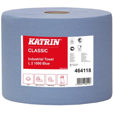 KATRIN Putztuchrolle, 22x38 cm, 2-lagig, blau 1 Palette = 54 Pakete = 108 Rollen
