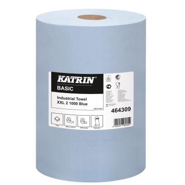 KATRIN Basic XXL 2 1000 Industrietuch, blau 1 Paket = 1 Rolle = 1000 Blatt, Ø 39 cm