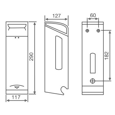 KATRIN Toilet 2-Rollen Spender, Edelstahl 288 x 116 x 127 mm