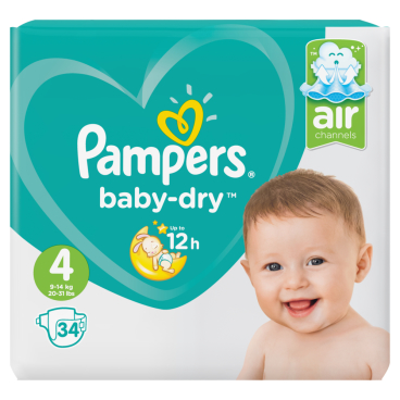 Pampers Baby Dry Maxi Windeln 9-14 kg, Größe 4
