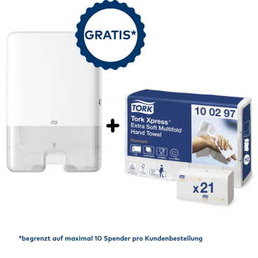 Tork Sonderaktion* Xpress® Handtuchspender + Papierhandtücher  1 Aktionsset