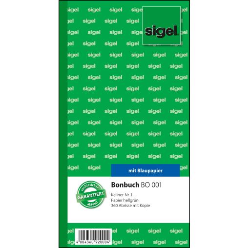 Sigel Bonbuch, 360 Abrisse, mit Kellnernr. 1 und blaupapier