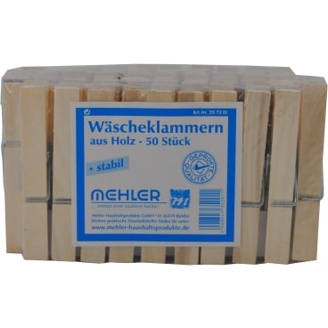 Wäscheklammern, Holz 50 Stück im Polybeutel