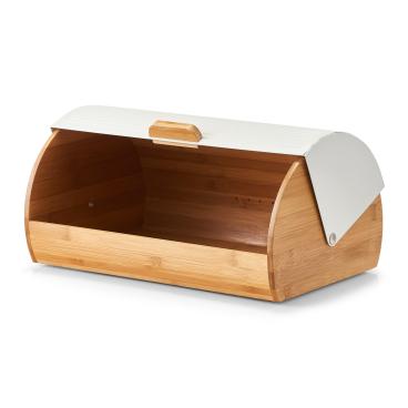 Zeller Brotkasten Bamboo/ Metall Maße: 39 x 27 x 19 cm, weiß
