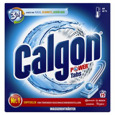 Calgon 3 in 1 Waschmaschinen-Wasserenthärter Power-Tabs 1 Packung = 75 Tabs