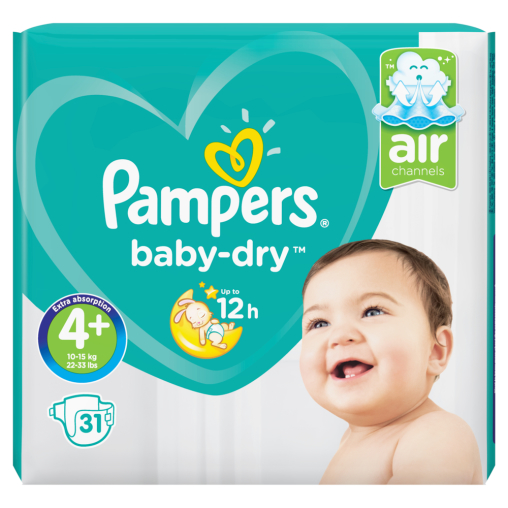 Pampers Baby Dry Maxi Plus Windeln 10-15 kg, Größe 4+