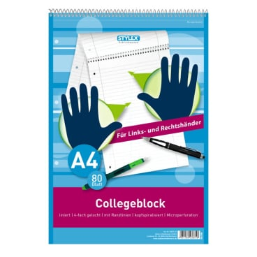 STYLEX® Collegeblock A4, 80 Blatt, kariert