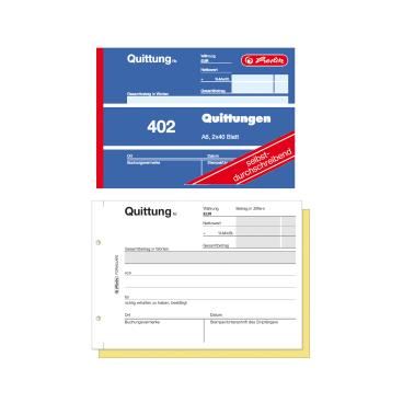 Herlitz 402 Quittungsblock, A6, 2 x 40 Blatt