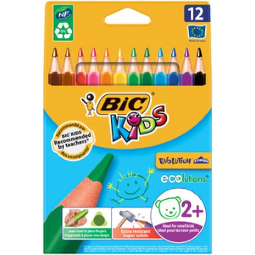 BiC® Kids Dreikant-Schreiblernbuntstift, 12 Farben