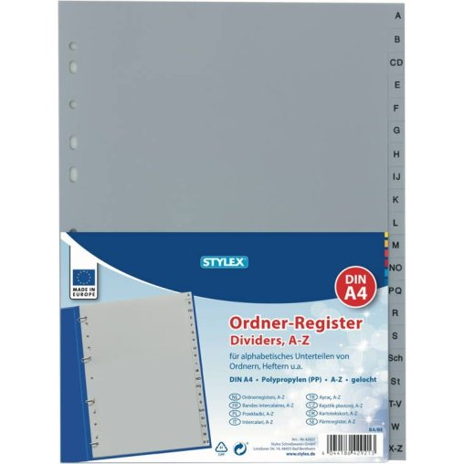 STYLEX® Ordner-Register, gelocht, DIN A4, A-Z