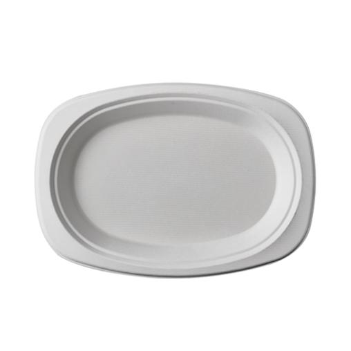 Papstar Pure Teller Zuckerrohr, oval, weiß