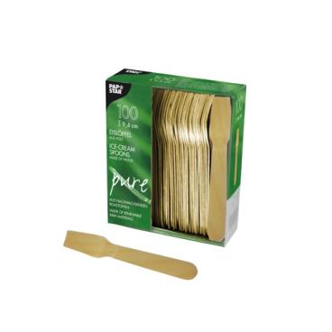 Papstar Pure Eislöffel Holz