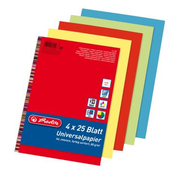 Herlitz colourmix Universalpapier DIN A4, 80 g/m², 4-farbig