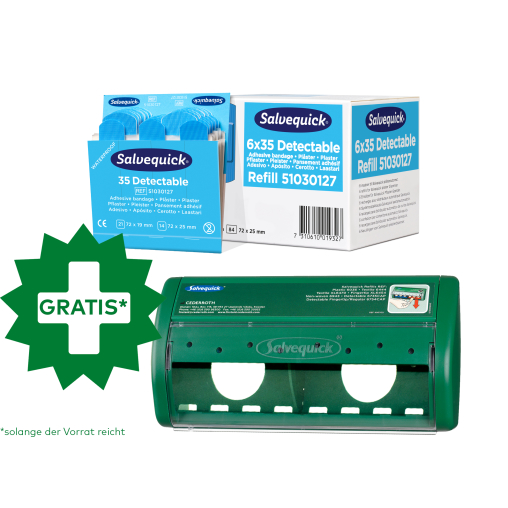 Cederroth Salvequick Blue Detectable Pflaster + Pflasterspender