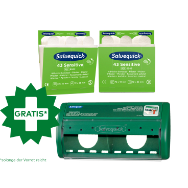Cederroth Salvequick Sensitive Pflaster, weiß + Pflasterspender