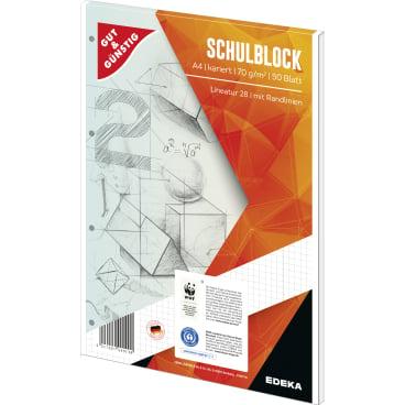 Schulblock A4, kariert mit Randlinien