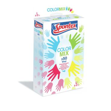 Spontex Color Mix Einmalhandschuh 1 Packung = 100 Stück, Größe: 8 - 8,5 (L)