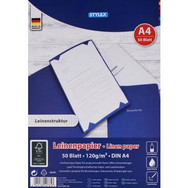 STYLEX® Leinenpapier DIN A4, 120 g/m², weiss