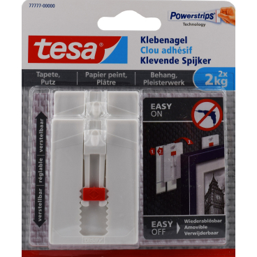 tesa® Klebenagel für Tapete für Putz, verstellbar