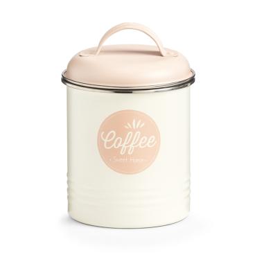 Zeller Coffee Vorratsdose, creme/rosé Maße: ca. Ø 11,3 x 16,5 cm