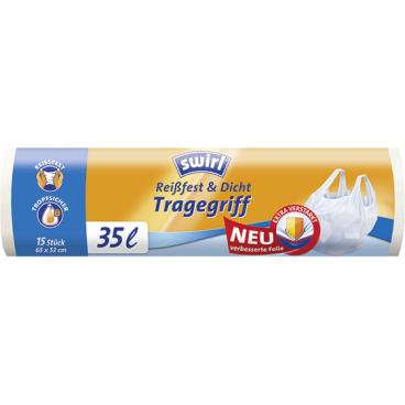 Swirl® Müllbeutel mit Tragegriffen 1 Rolle = 15 Stück, Fassungsvermögen 35 l