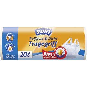 Swirl® Müllbeutel mit Tragegriffen 1 Rolle = 20 Stück, Fassungsvermögen 20 l