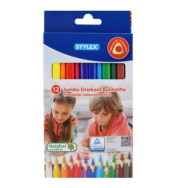 STYLEX® Jumbo Dreikant Buntstifte, holzfrei