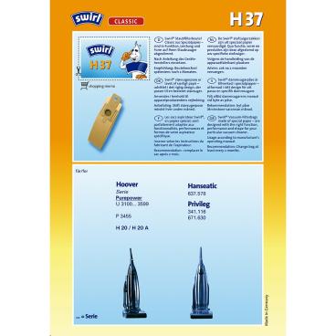 Swirl H 37 Staubfilterbeutel für Hoover Typ H 37